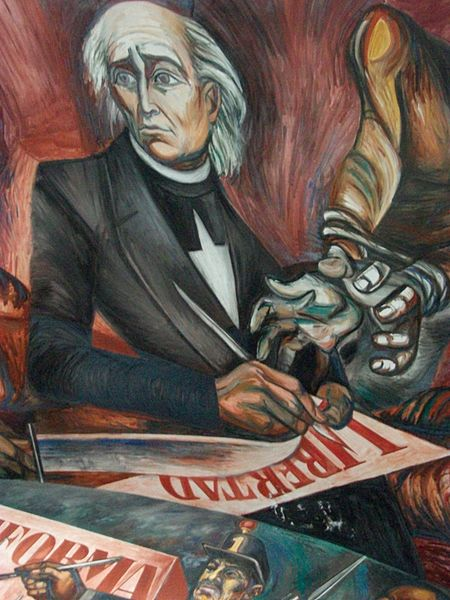 This part of a mural depicts a gray-haired man in a black suit holding a pen. From a side, a figure with bound hands reaches for the pen.