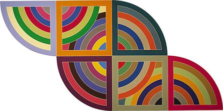 This painting is composed of a full circle in the middle with two half circles attached to it on the upper left and lower right. Two squares lay over the full circle, connecting the half circles. All of the shapes are made of multi-colored bands.