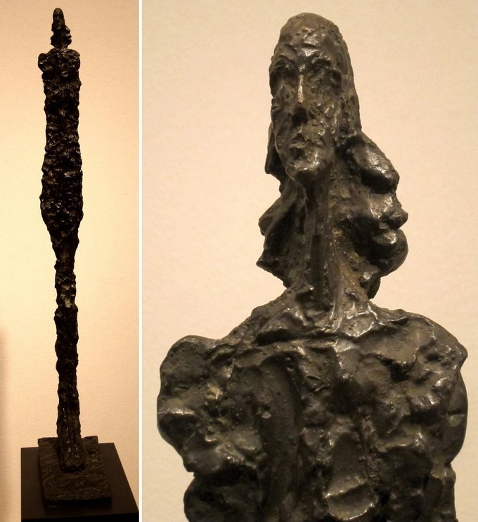 Two images of the sculpture of: one of the entire sculpture and one a close-up of the head. The sculpture is heavily textured, and the figure is thin and stretched out.