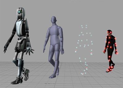 This image shows the different steps to creating a CGI character, from a person being used as a model to the final robot-like character.