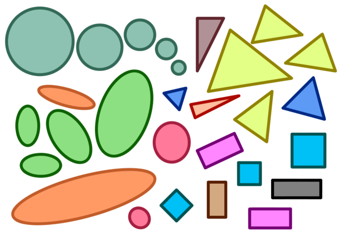 Similar shapes with the same proportions are shown, including circles (all similar), similar ovals, equilateral triangles, squares, and examples of rectangles and triangles that are similar and not similar.