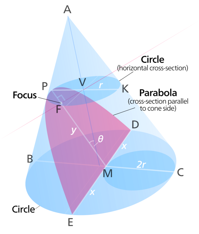 The image shows a cone with a parabola (a cross section of the cone parallel to cone side) and a circle (horizontal cross section of the cone).