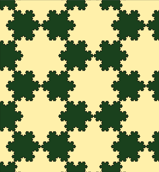 A field of tessellating koch snowflakes