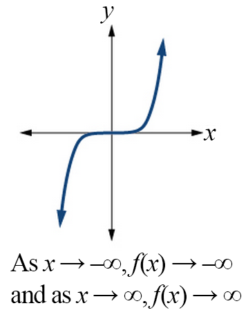 Graph of an odd-powered function with a positive constant. As x goes to negative infinity, the function goes to negative infinity; as x goes to positive infinity, the function goes to positive infinity.