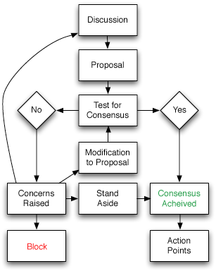 Regardless of perspective or style, all leaders must make decisions that create consensus. This model underlines how a manager or leader can discuss various options within a group setting, make proposals for action, and iterate until agreement is reached.