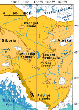 Beringia is defined as the land and maritime area bounded on the west by the Lena River in Russia; on the east by the Mackenzie River in Canada; on the north by 72 degrees north latitude in the Chukchi Sea; and on the south by the tip of the Kamchatka Peninsula. It includes the Chukchi Sea, the Bering Sea, the Bering Strait, the Chukchi and Kamchatka Peninsulas in Russia as well as Alaska in the United States. The area includes land lying on the North American Plate and Siberian land east of the Chersky Range.