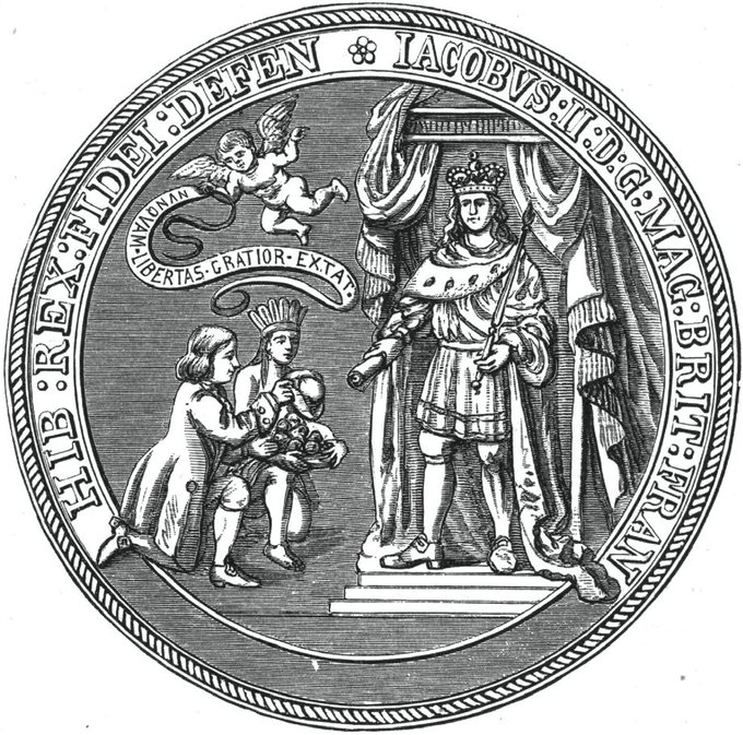 The image depicts a Native American and a colonist kneeling at the feet of King James.