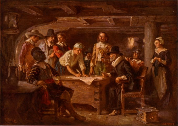 "The painting depicts passengers of the Mayflower signing the ""Mayflower Compact."""