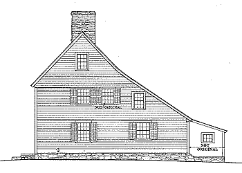 The drawing shows the side elevation of a saltbox house, a traditional New England style of house with a long, pitched roof that slopes down to the back. A saltbox has just one story in the back and two stories in the front. The flat front and central chimney are recognizable features, but the asymmetry of the unequal sides and the long, low rear roof line are the most distinctive features of a saltbox, which takes its name from its resemblance to a wooden lidded box in which salt was once kept.