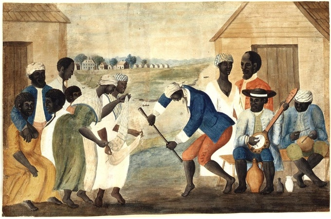 The folk painting depicts a group African-American slaves dancing to banjo and drum music.
