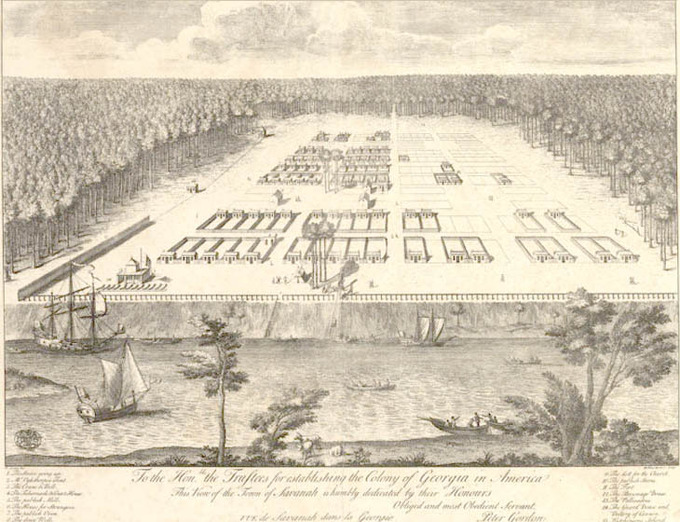 A early (Sometime in the 1700's) drawing of Savannah, Georgia.