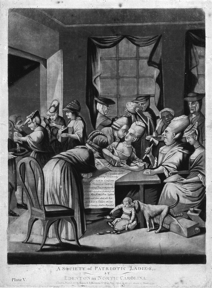 "Several of the women have pretensions to extreme high fashion (with small caps perched on huge ""big hair"" headdresses), the woman chairing the meeting and holding the gavel is rather ugly (in 1775, just the very idea of women holding political-type meetings with public speaking and rules of debate would have been humorous to many), one of the women holding a quill is flirting with a man, the woman sitting next to the chairwoman looks like she would like to flirt with men if they would pay attention to her, flasks of alcohol are much in evidence, and underneath the table a child holding a tray of food is harassed by a urinating dog (this implies an accusation that the women are not good mothers). The text of the resolution reads ""We the Ladys of Edenton do hereby solemnly Engage not to Conform to that Pernicious Custom of Drinking Tea, or that we the aforesaid Ladys Promote the use of any Manufacture from England, until such time that all Acts which tend to Enslave this our Native Country shall be Repealed."""