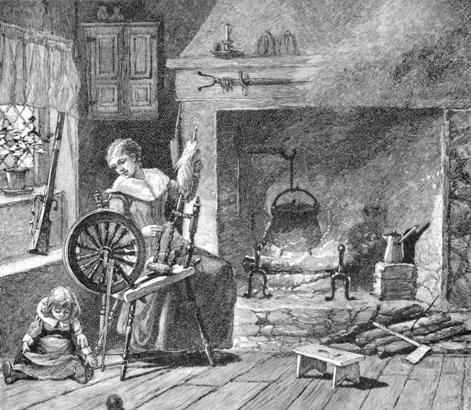 The image is of an engraving showing a colonial kitchen. A woman is spinning while a small child plays nearby on the floor.