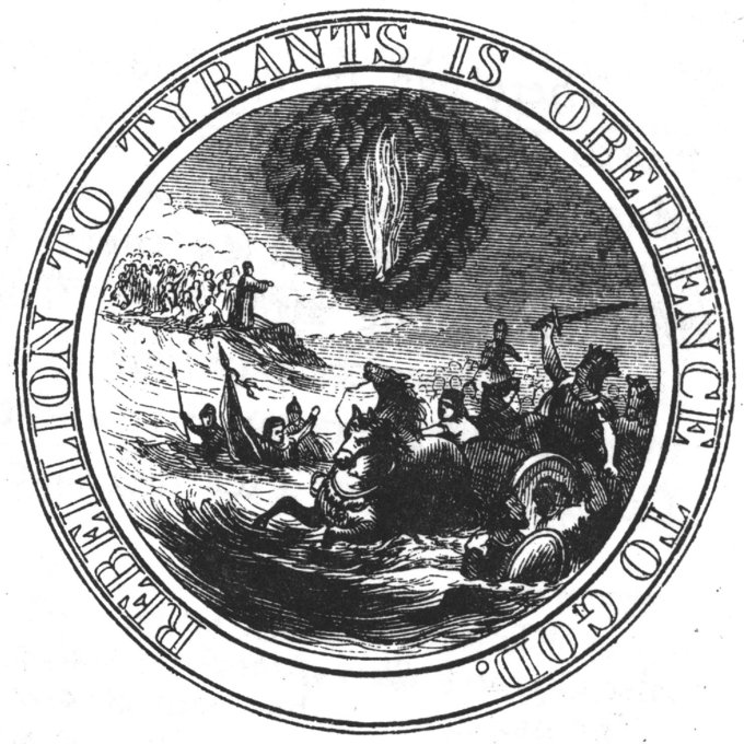 "The image on the seal shows Moses standing on the Shore, and extending his Hand over the Sea, thereby causing the same to overwhelm Pharaoh who is sitting in an open Chariot, a Crown on his Head and a Sword in his Hand. Rays from a Pillar of Fire in the Clouds reach to Moses, to express that he acts by Command of the Deity. The motto, ""Rebellion to Tyrants is Obedience to God"" wraps around the outside of the seal."