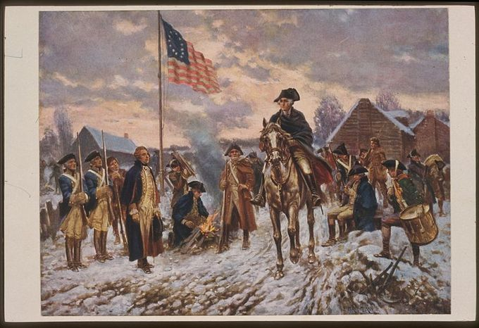 The painting shows Washington sitting on a horse, with many men surrounding him. One of the men is stoking a fire, while another brings more wood. There is snow on the ground, and the flag waves against a gray sky.