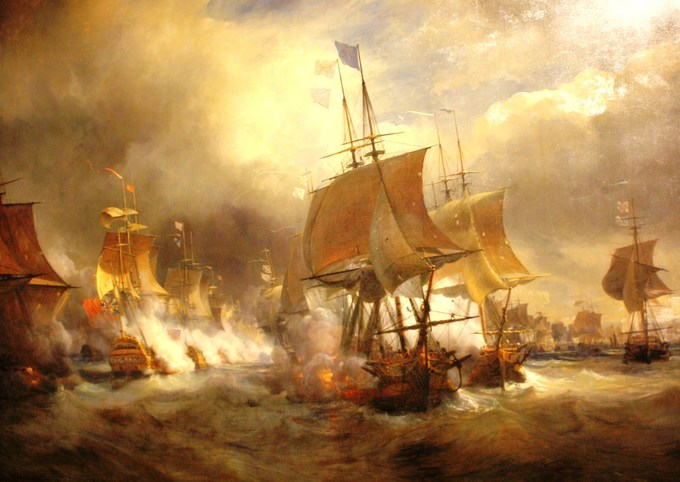 The painting shows a number of burning ships at the Battle of Ushant.