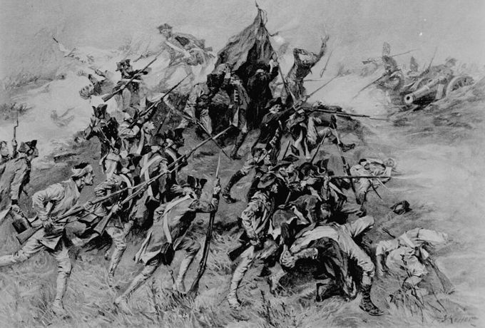 This black and white illustration shows 30 or so men clashing at the Siege of Savannah.