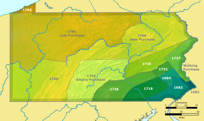 This map shows a series of twelve land purchases made from Native Americans in Pennsylvania from 1682 through 1792. The purchases began in southeastern Pennsylvania in 1682 and culminated in northwestern Pennsylvania in 1792. Notable purchases include the Walking Purchase of 1737 in eastern Pennsylvania; the Albany Purchase of 1754 in southern Pennsylvania; the New Purchase of 1768 spanning a horizontal swathe of land stretching from the southwest corner of the state to the northeast corner of the state; and the Last Purchase of 1784 in northwestern Pennsylvania.