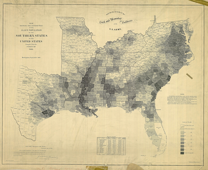 "A table at the bottom of the map lists 1860 census data from fifteen southern states: South Carolina, Mississippi, Louisiana, Alabama, Florida, Georgia, North Carolina, Virginia, Texas, Arkansas, Tennessee, Kentucky, Maryland, Missouri, and Delaware The table lists the free population, slave population, total population, and percentage of slaves in each of these states. South Carolina has the highest percentage of slaves (57.2%) and Delaware has the lowest percentage of slaves (32.2%). The map itself further illustrates the census data by displaying the percentage of slaves by county using a nine-point ""Scale of Shade."" Counties whose slave population is less than 10% are shown in white. On the opposite end of the scale, counties whose slave population is 80% or more are shown in black."