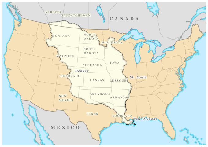 The Louisiana Purchase covered modern-day Nebraska, Iowa, Kansas, Missouri, Oklahoma, and Arkansas, as well as portions of modern-day Montana, North Dakota, Wyoming, South Dakota, Minnesota, Colorado, New Mexico, Texas, Louisiana, Alberta (Canada), and Saskatchewan (Canada).