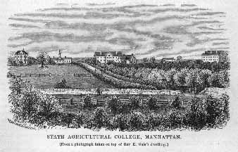 A drawing of Kansas State University as it appeared in 1878. It depicts five buildings with farmland in the foreground.