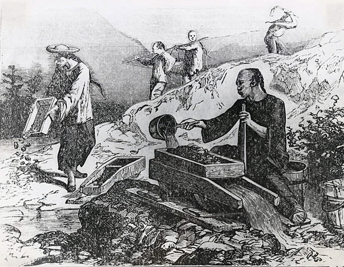 A drawing depicting five Chinese men panning for gold