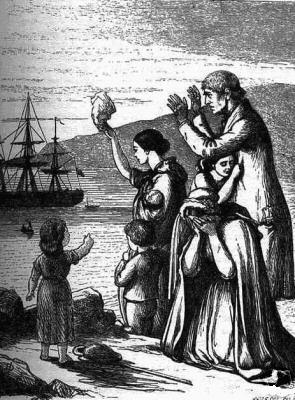 The engraving depicts a family of seven waving forlornly at a ship sailing in the distance.
