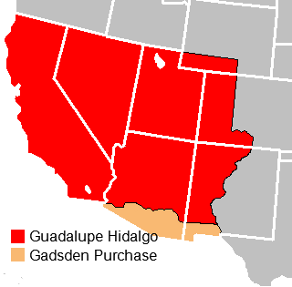 The Mexican Cession acquired through the Treaty of Guadalupe Hidalgo included the entirety of California, Nevada, and Utah; the majority of Arizona; and portions of Wyoming, Colorado, and New Mexico. The Gadsden Purchase included southern Arizona and the southwest corner of New Mexico.