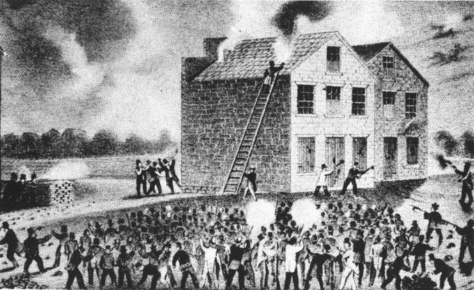 The foreground of the engraving shows a large crowd of men fighting. The background shows a burning building. A man on a ladder attempts to put the fire out.