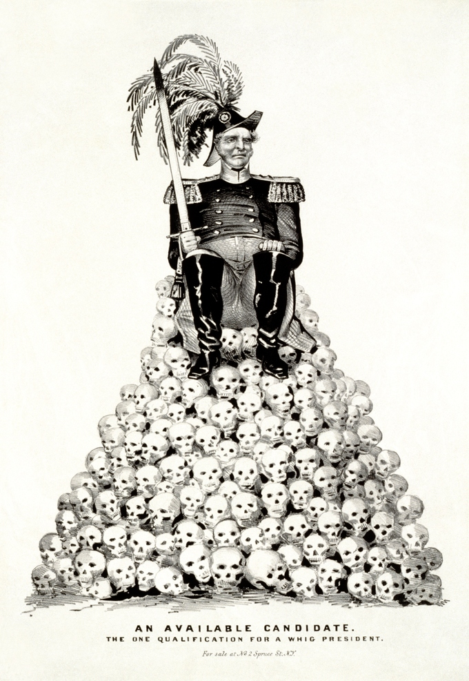 "The cartoon shows a man in military uniform, with epaulets and plumed hat, holding sword and seated on pile of skulls. The caption below the image reads: ""An Available Candidate. The One Qualification for Whig President."""