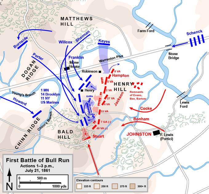 The Union attack came from the North; the Confederate attack came from the South.