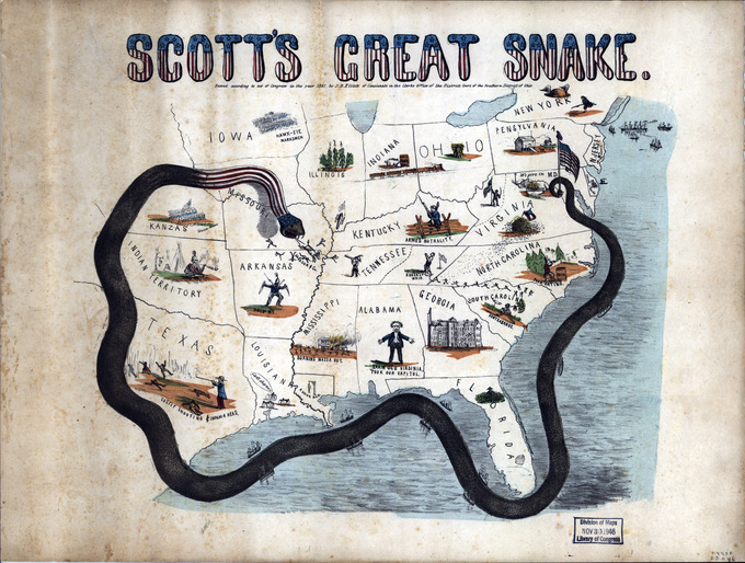 "The illustrated map shows a giant snake, ""Scott's Great Snake,"" wrapped around the Confederate states. Its tail is coiled around a flagpole with a U.S. flag and a liberty cap at Washington, D.C. Its body extends around Florida and up through Texas, Indian Territory, Kansas, and around to Missouri. It's head, which rests above southern Missouri, is decorated with the stars and stripes of the American flag. It bears its fangs, driving ""Jackson & Co."" into Arkansas."
