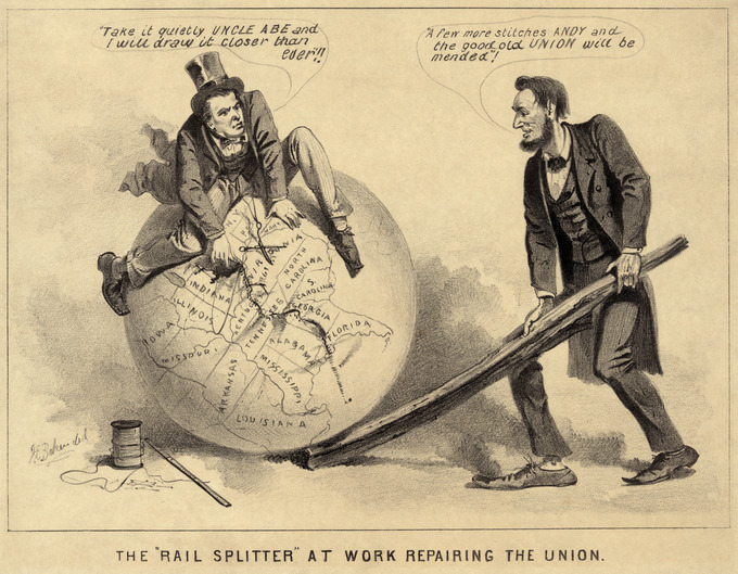 Cartoon print shows Vice President Andrew Johnson sitting atop a globe, attempting to stitch together the map of the United States with needle and thread. Abraham Lincoln stands, right, using a split rail to position the globe.