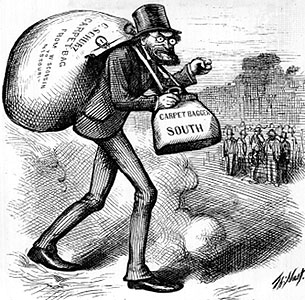 "The cartoon shows a crazed-looking man who resembles Abraham Lincoln carrying two bags, one on his front that is labelled ""Carpet Bagger South"" and another on his back that is labelled ""C. Schurz Carpet-Bag from Wisconsin to Missouri"" in the foreground. A group of men are gathered in the background."