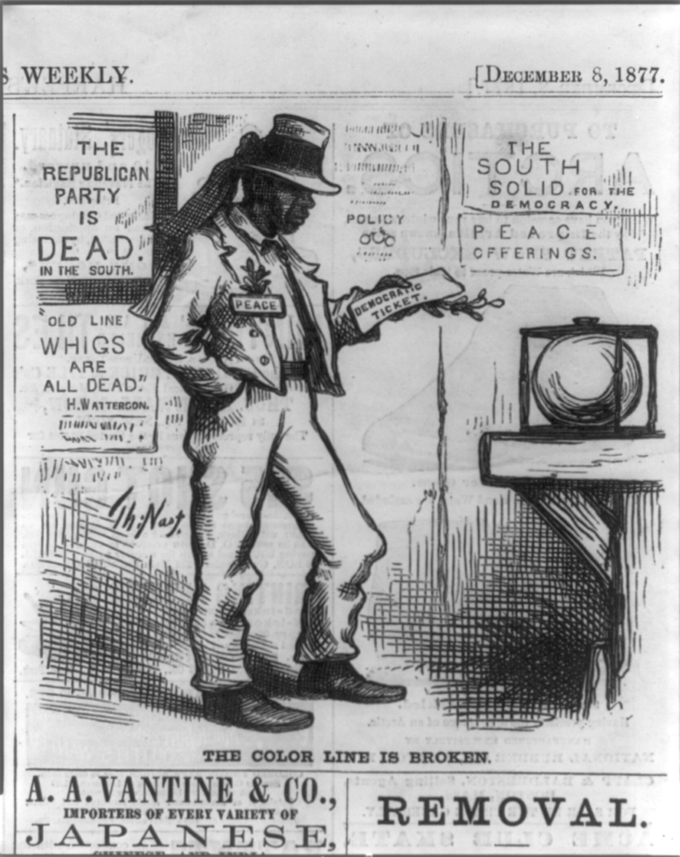 the grant administration boundless us history the color line is broken this political cartoon from 1877 depicts the democrats control over the south it shows a black man holding a democrat voting