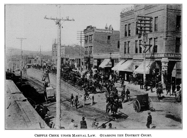 The photo shows a busy street in Cripple Creek