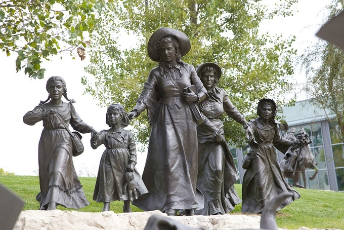 The includes statues of five women who range considerably in age.