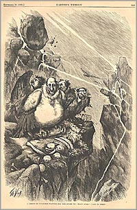 Boss Tweed and the Tammany Ring are shown as vultures perched on a cliff trying to wait out the storm of accusations.