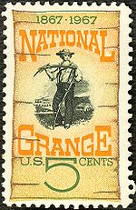 "The text of the stamp reads ""1867-1967: National Grange. U.S. 5 Cents."" The stamp shows a young man standing in front of a farm, holding a scythe and looking off into the distance."