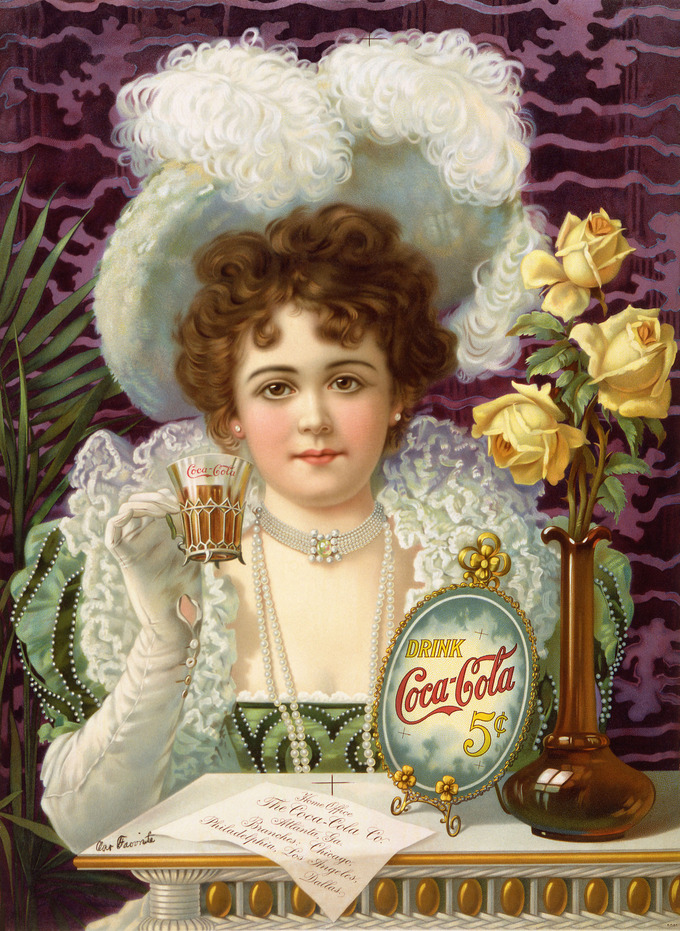 "The advertising poster shows a woman in fancy clothes (partially vaguely influenced by 16th- and 17th-century styles) drinking Coke. The card on the table says ""Home Office, The Coca-Cola Co. Atlanta, Ga. Branches: Chicago, Philadelphia, Los Angeles, Dallas."""