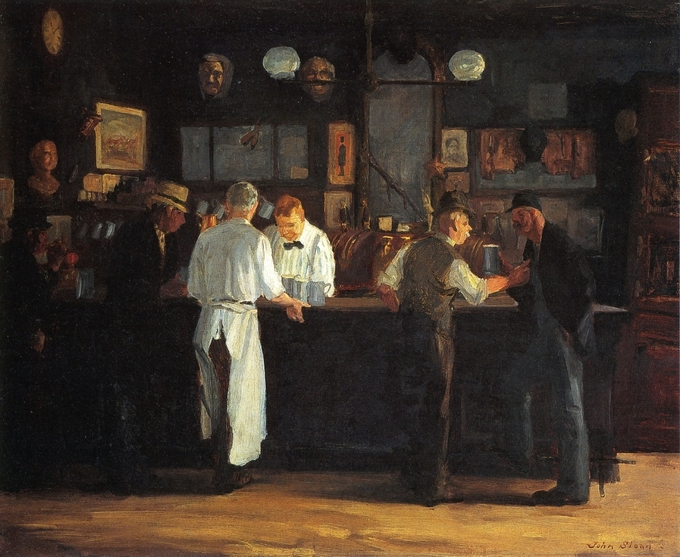 The painting shows five men drinking at McSorley's bar.