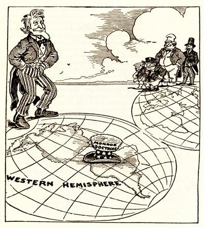 "The cartoon shows Uncle Sam standing on a map of the Western Hemisphere. His top hat, ornamented with stars, stripes, and the label ""Monroe Doctrine,"" rests on Central and South America. A number of men look on from a distance in the Eastern Hemisphere."