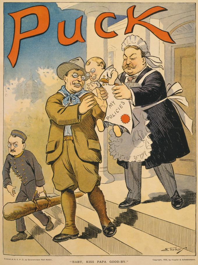 "Outgoing US president Teddy Roosevelt (dressed as a cowboy) hands responsibility (in form of a baby that looks like Roosevelt labeled ""My Policies"") to his successor William Howard Taft (wearing a nurse-maid's apron and bonnet over his suit). TR's secretary William Loeb, dressed as a bell boy, carries Roosevelt's ""Big Stick."""