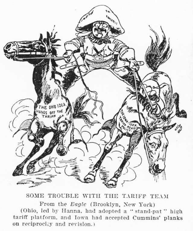 "Text at the bottom of the cartoon reads, ""Some trouble with the tariff team. From the Eagle (Brooklyn, New York). (Ohio, lead by Hanna, had adopted a ""stand-pat"" high tariff platform, and Iowa had accepted Cummins' planks on reciprocity and revision.)"""