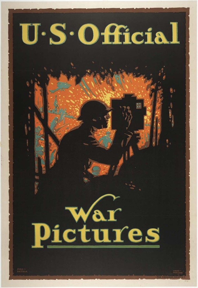 "The poster, which bears the text ""U.S. Official War Pictures,"" shows the shadowy silouette of a man taking a photograph in the foreground. Planes, soldiers, and the orange explosions of warfare are shown in the background."