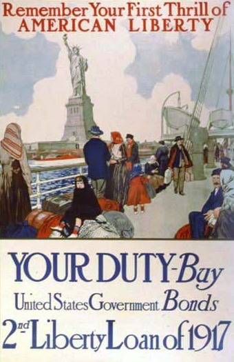 "The text reads ""Remember your first thrill of American Liberty. Your duty- buy United States Government Bonds. 2nd Liberty Loan of 1917."" The image shows passengers on a boat gazing at the Statue of Liberty in the distance."