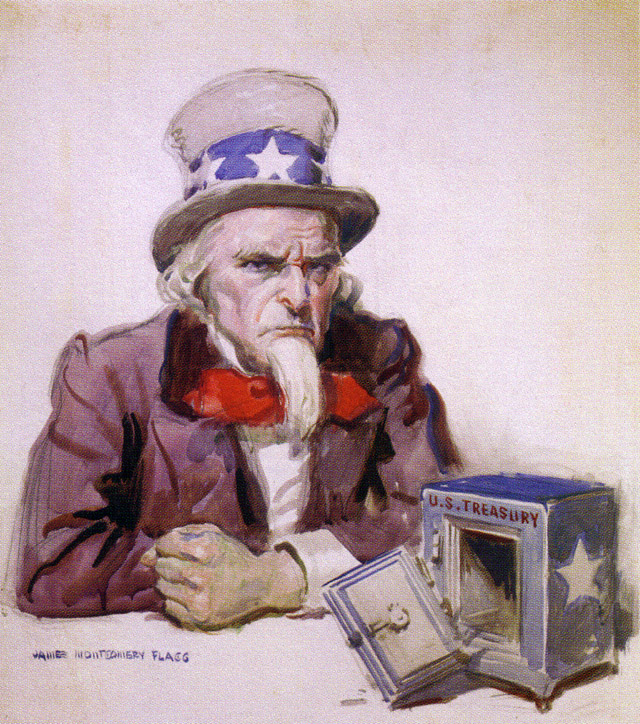 The cartoon shows an angry Uncle Sam with an empty treasury.