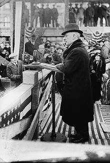 Photograph of Al Smith giving a speech.