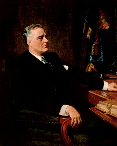 Presidential portrait of Franklin D. Roosevelt: Franklin D. Roosevelt, the 32nd President of the United States, presided over the nation's response to the ...