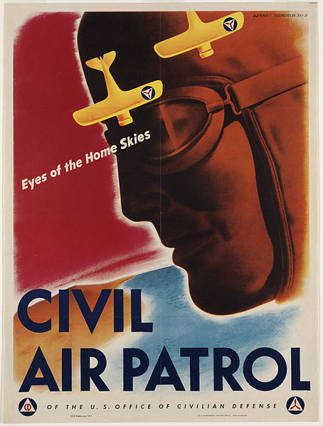"Civil Air Patrol poster produced for the Office of Civilian Defense, as part of a campaign to build interest in joining CAP during World War II. The image shows the profile of an airmen and two yellow airplanes. The text reads, ""Eyes of the Home Skies. Civil Air Patrol of the U.S. Office of Civilian Defense."""